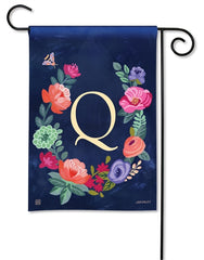 Boho Flowers Monogram Q Garden Flag