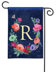 Boho Flowers Monogram R Garden Flag