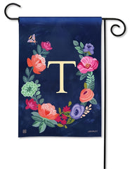 Boho Flowers Monogram T Garden Flag