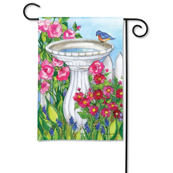 Backyard Birdbath Garden Flag