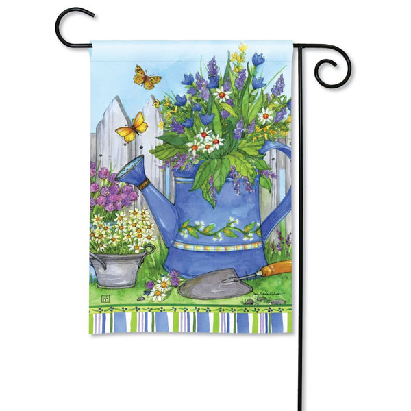Painted Watering Can Garden Flag