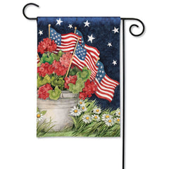 Geraniums With Flags Garden Flag