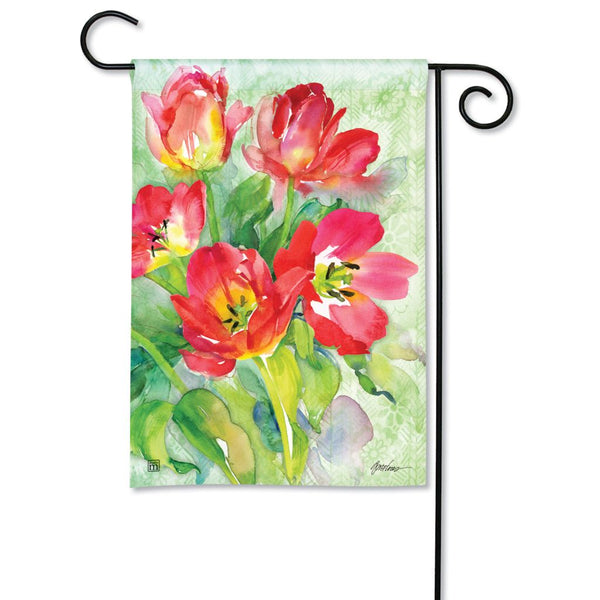 Red Tulips Garden Flag
