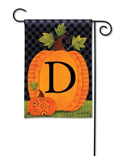 Patterned Pumpkins Monogram D Garden Flag