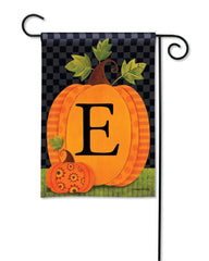 Patterned Pumpkins Monogram E Garden Flag