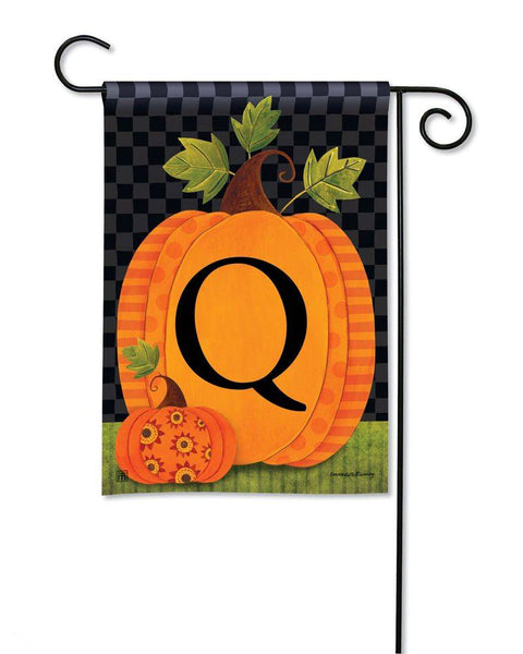 Patterned Pumpkins Monogram Q Garden Flag