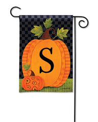 Patterned Pumpkins Monogram S Garden Flag