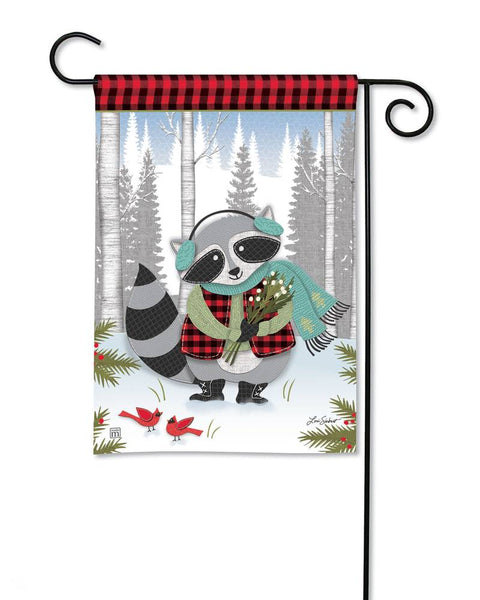 Winter Fun Raccoon Garden Flag