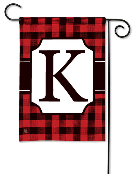 Buffalo Check Monogram K Garden Flag