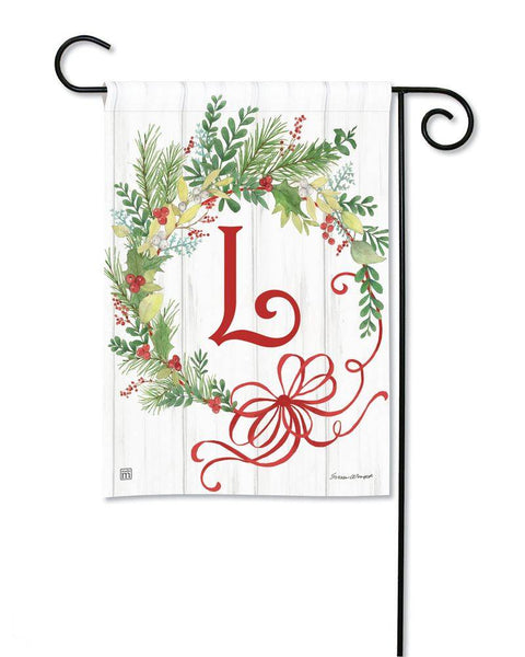 Winterberry Monogram L Garden Flag