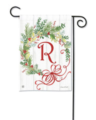 Winterberry Monogram R Garden Flag