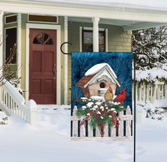 Winter Home Cardinals Garden Flag
