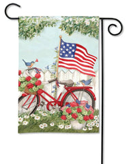 Patriotic Bike Garden Flag