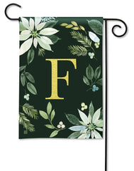 Poinsettia Joy Monogram F Garden Flag