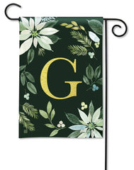 Poinsettia Joy Monogram G Garden Flag