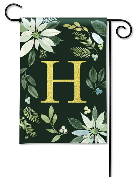 Poinsettia Joy Monogram H Garden Flag