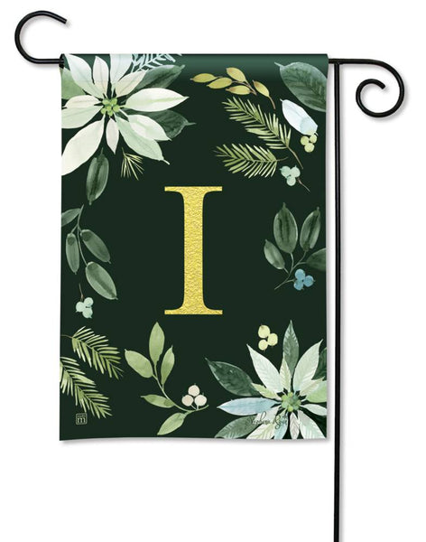 Poinsettia Joy Monogram I Garden Flag