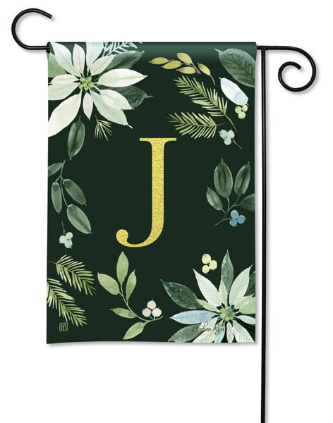 Poinsettia Joy Monogram J Garden Flag