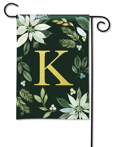 Poinsettia Joy Monogram K Garden Flag