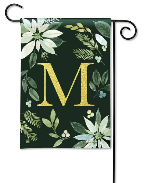 Poinsettia Joy Monogram M Garden Flag