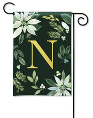 Poinsettia Joy Monogram N Garden Flag