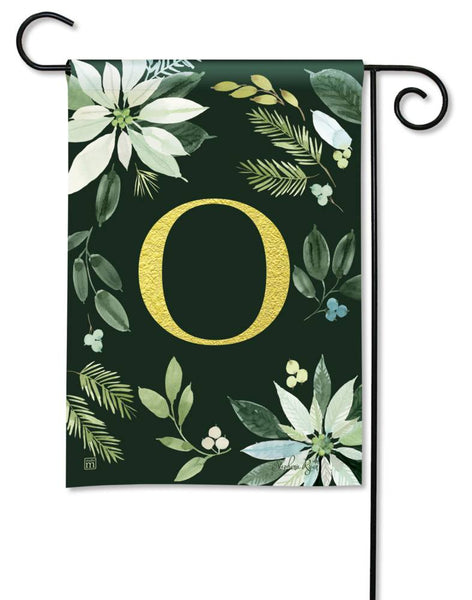 Poinsettia Joy Monogram O Garden Flag