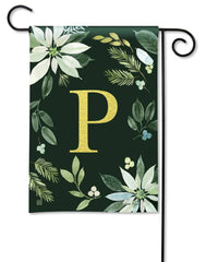 Poinsettia Joy Monogram P Garden Flag