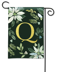 Poinsettia Joy Monogram Q Garden Flag