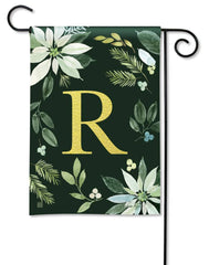 Poinsettia Joy Monogram R Garden Flag
