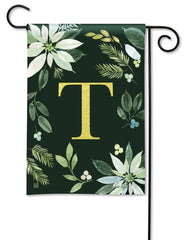 Poinsettia Joy Monogram T Garden Flag