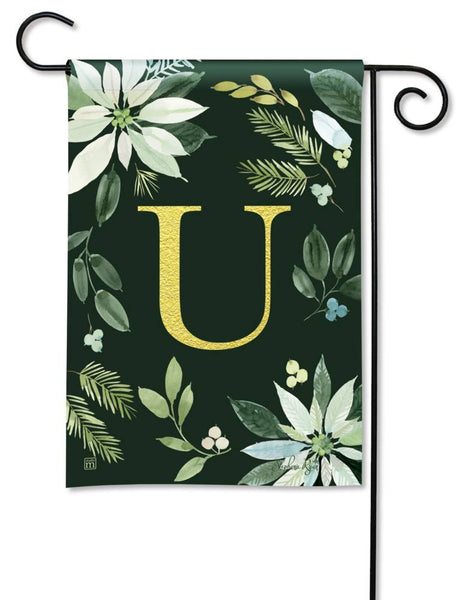 Poinsettia Joy Monogram U Garden Flag