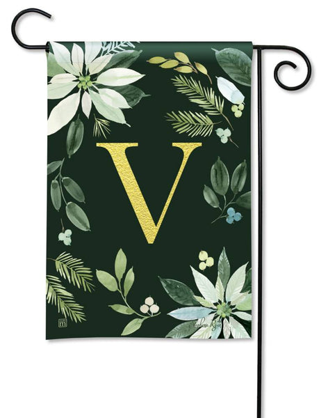 Poinsettia Joy Monogram V Garden Flag