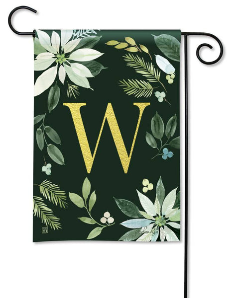 Poinsettia Joy Monogram W Garden Flag