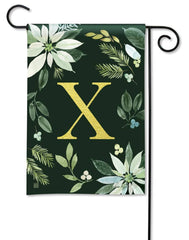 Poinsettia Joy Monogram X Garden Flag