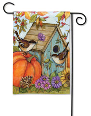 Autumn Birdhouse Garden Flag