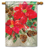 Poinsettia with Pine Cones Standard Flag