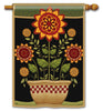 Primitive Sunflowers Standard Flag