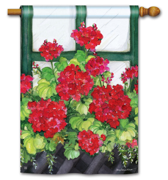 Window Box Geraniums Standard Flag