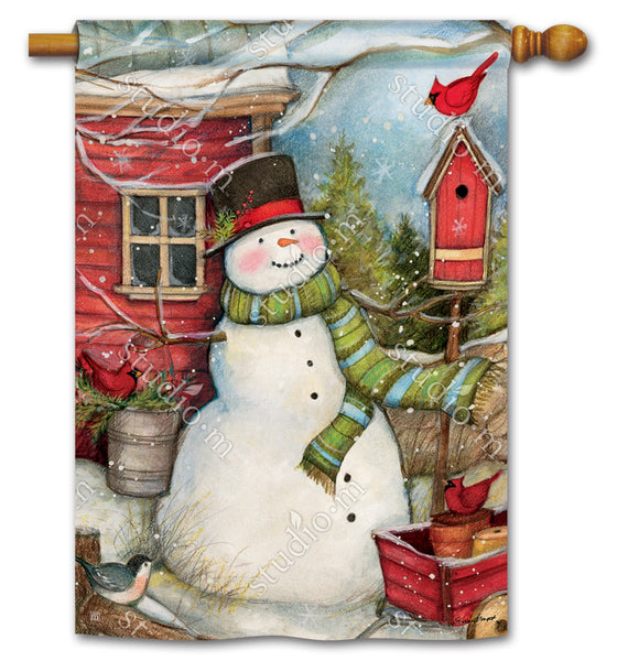 Red Barn Snowman Standard Flag
