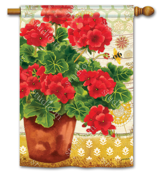 Potted Geraniums Standard Flag