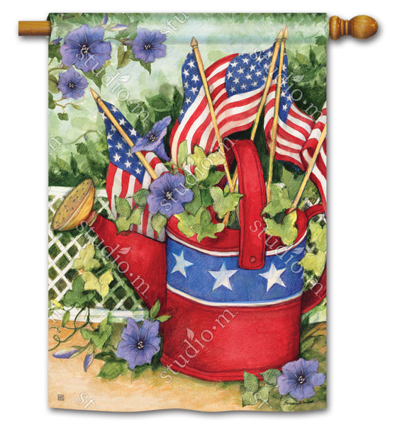Patriotic Watering Can Standard Flag