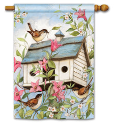 Spring Birdhouse with Clematis Standard Flag