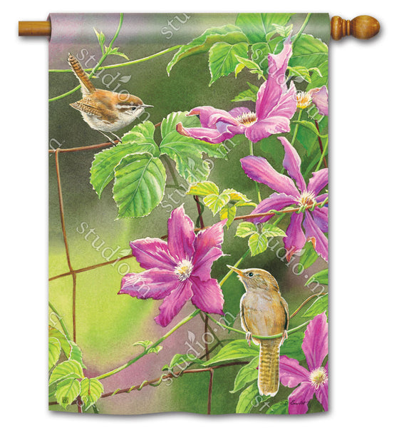 Wren with Purple Clematis Standard Flag