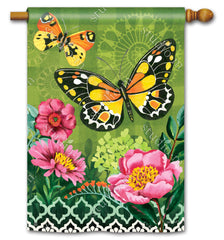 Butterflies with Pink Flowers Standard Flag