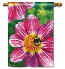 Pink Flower with Bee Standard Flag