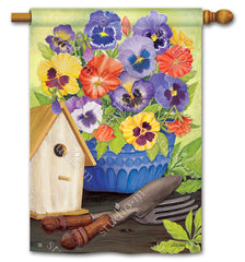 Pretty Pansy and Birdhouse Standard Flag