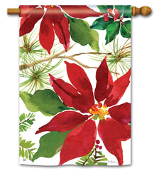 Pretty Poinsettia Standard Flag