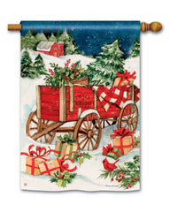 Christmas Farm Wagon Standard Flag