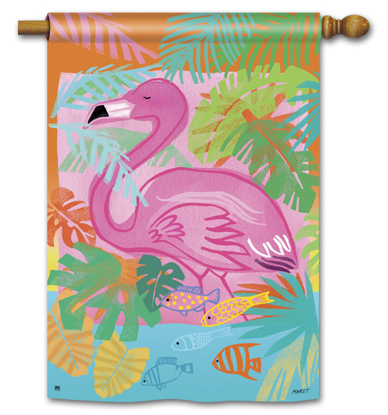 Fancy Flamingo Standard Flag
