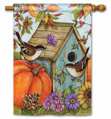 Autumn Birdhouse Standard Flag